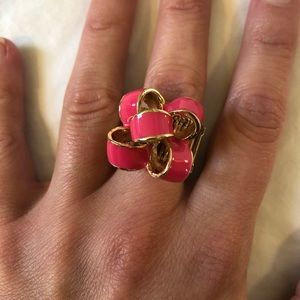Lilly Pulitzer pink and gold bow ring